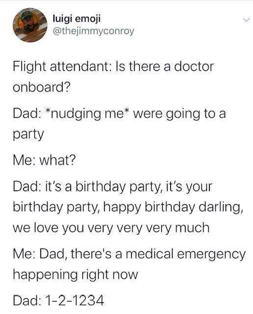 Text - luigi emoji @thejimmyconroy Flight attendant: Is there a doctor onboard? Dad: *nudging me* were going to a party Me: what? Dad: it's a birthday party, it's your birthday party, happy birthday darling, we love you very very very much Me: Dad, there's a medical emergency happening right now Dad: 1-2-1234