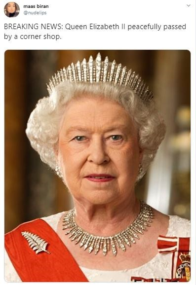 Forehead - maas biran @nudelips BREAKING NEWS: Queen Elizabeth Il peacefully passed by a corner shop
