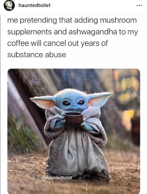 Yoda - hauntedtoilet me pretending that adding mushroom supplements and ashwagandha to my coffee will cancel out years of substance abuse @hauntedtoilet
