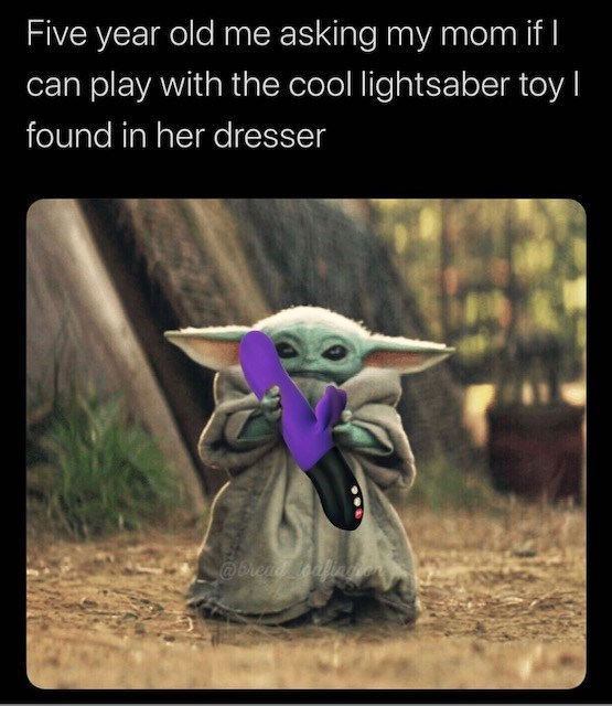 Photo caption - Five year old me asking my mom if I can play with the cool lightsaber toy I found in her dresser @Dreat eafiag