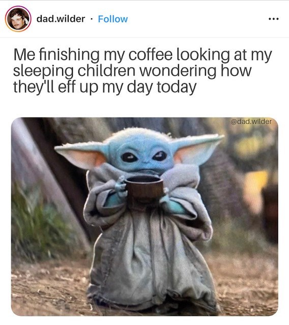 Yoda - dad.wilder Follow Me finishing my coffee looking at my sleeping children wondering how they'll eff up my day today @dad.wilder