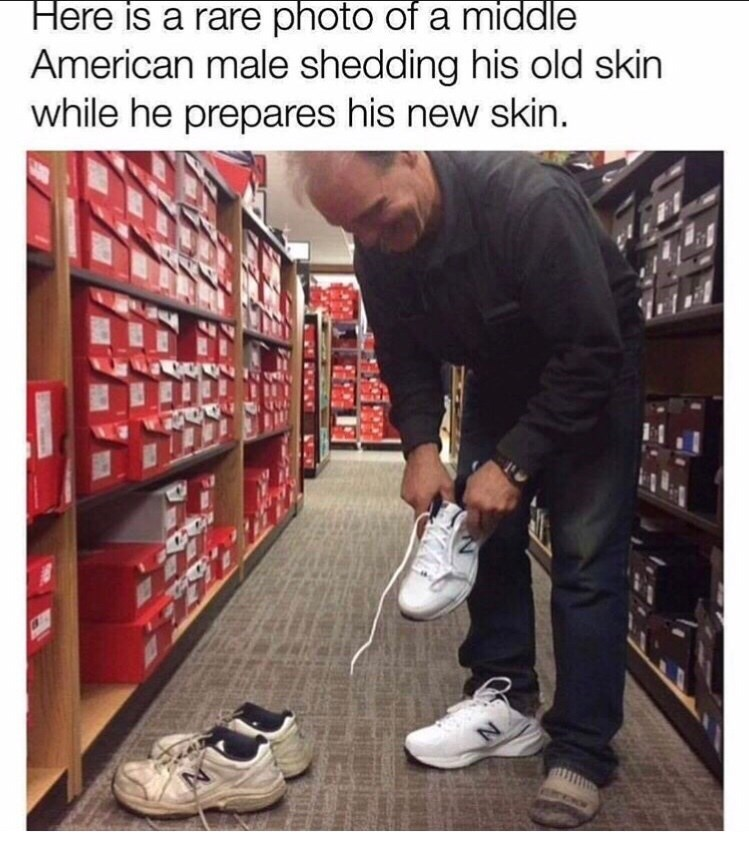 Footwear - Here is a rare photo of a middle American male shedding his old skin while he prepares his new skin