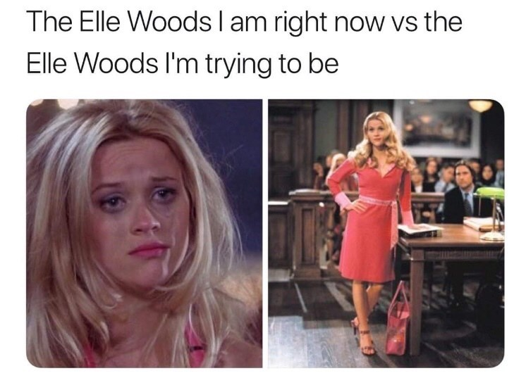 Text - The Elle Woods I am right now vs the Elle Woods I'm trying to be