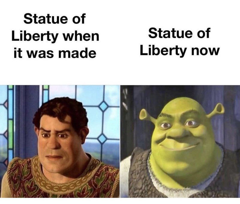 Facial expression - Statue of Statue of Liberty when Liberty now it was made