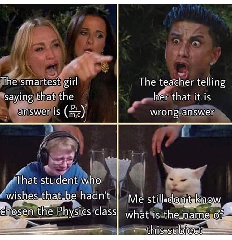 Facial expression - The teacher telling her that it is The smartest girl saying that the PI answer is wrong answer m2c That student who wishes that-he hadn't chosen the Physics class Me still don't know what is the name of this subiect