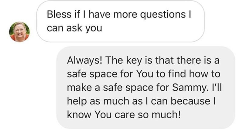 Text - Bless if I have more questions I can ask you Always! The key is that there is a safe space for You to find how to make a safe space for Sammy. Ill help as much as I can because I know You care so much!