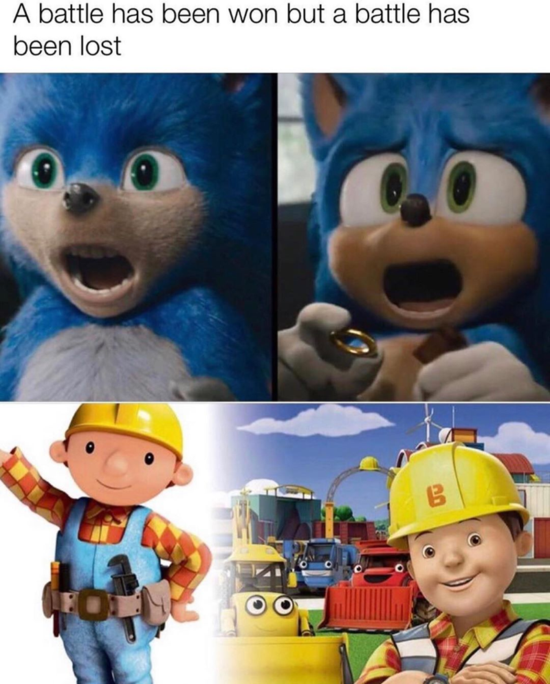 funny meme about bob the builder animation looking like shit, sonic the hedgehog.