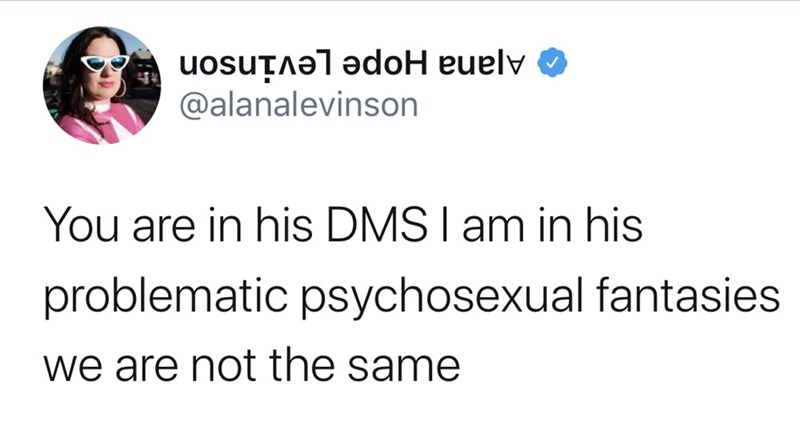 Text - Ajana Hope Levinson @alanalevinson You are in his DMS I am in his problematic psychosexual fantasies we are not the same