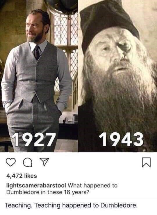 Facial hair - 1927 1943 Q V 4,472 likes lightscamerabarstool What happened to Dumbledore in these 16 years? Teaching. Teaching happened to Dumbledore.