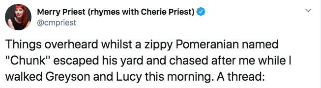 """Text - Merry Priest (rhymes with Cherie Priest) @cmpriest Things overheard whilst a zippy Pomeranian named """"Chunk"""" escaped his yard and chased after me while I walked Greyson and Lucy this morning. A thread:"""