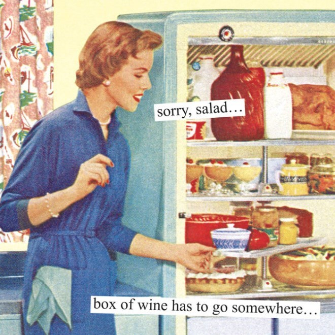 Vintage advertisement - sorry, salad.. box of wine has to go somewhere...