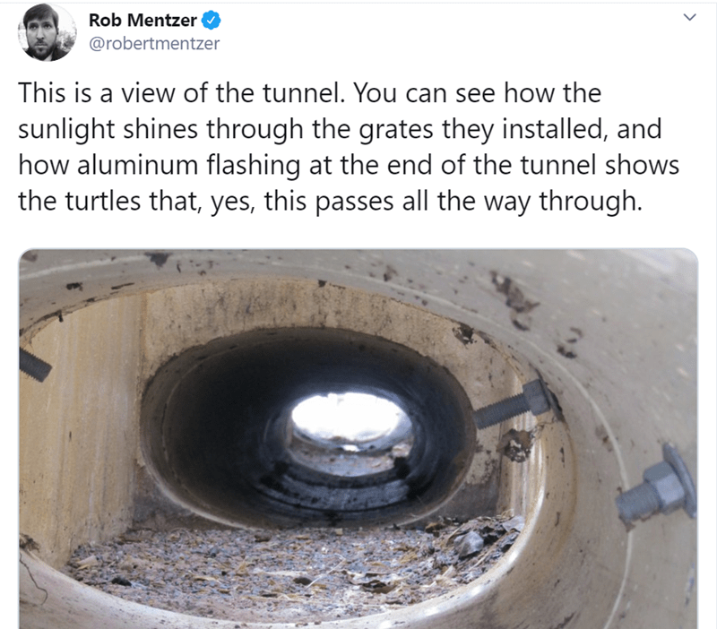 Automotive wheel system - Rob Mentzer @robertmentzer This is a view of the tunnel. You can see how the sunlight shines through the grates they installed, and how aluminum flashing at the end of the tunnel shows the turtles that, yes, this passes all the way through.
