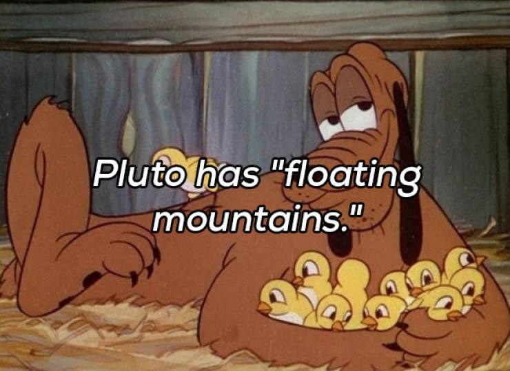 "Cartoon - Pluto has ""floating mountains."