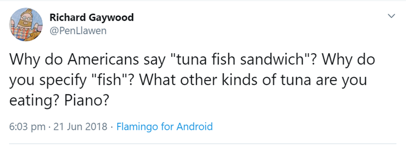 "Text - Richard Gaywood @PenLlawen Why do Americans say ""tuna fish sandwich""? Why do you specify ""fish""? What other kinds of tuna are you eating? Piano? 6:03 pm · 21 Jun 2018 · Flamingo for Android"
