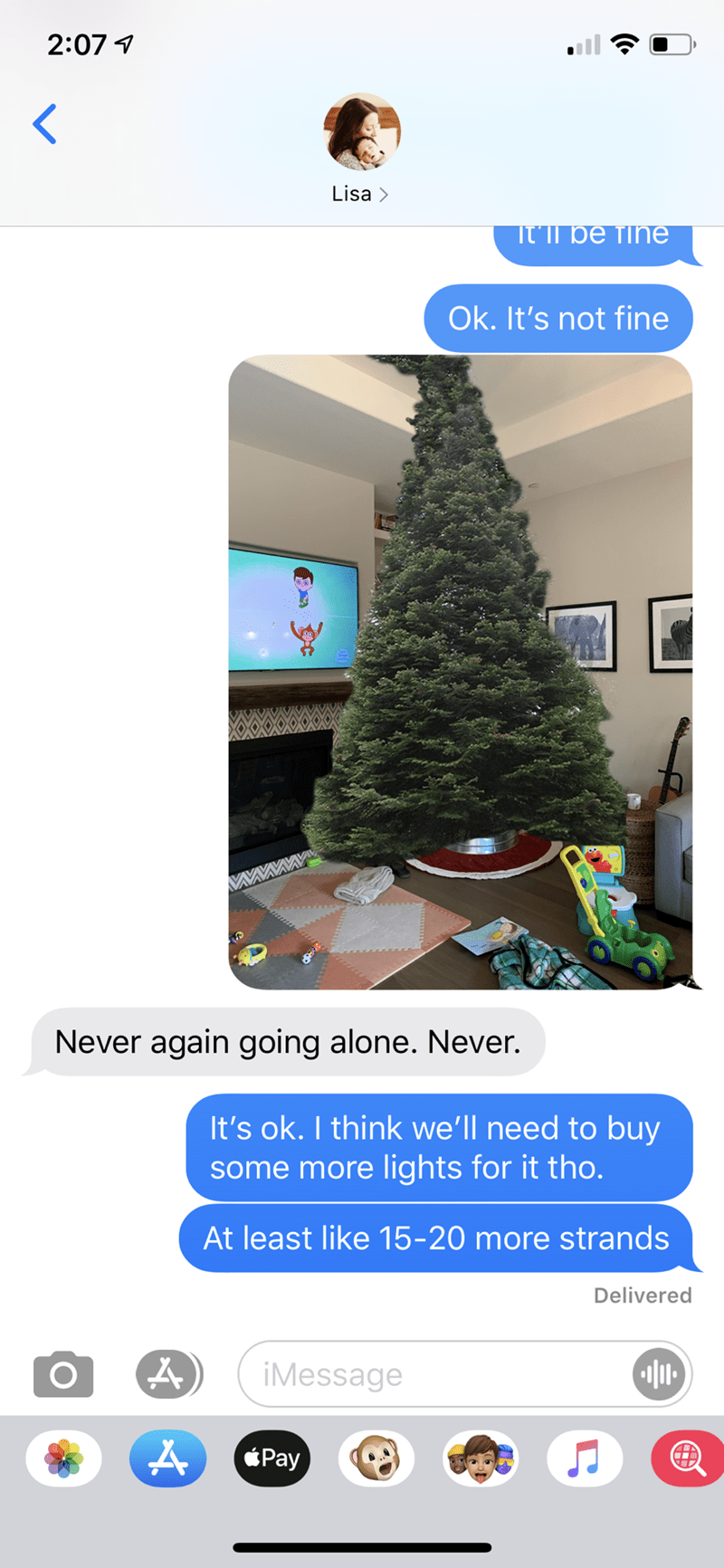 Tree - 2:07 1 Lisa > זקT סe Tne Ok. It's not fine Never again going alone. Never. It's ok. I think we'll need to buy some more lights for it tho. At least like 15-20 more strands Delivered iMessage Pay