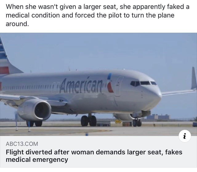 Airline - When she wasn't given a larger seat, she apparently faked a medical condition and forced the pilot to turn the plane around. American& i АВС13.СOM Flight diverted after woman demands larger seat, fakes medical emergency