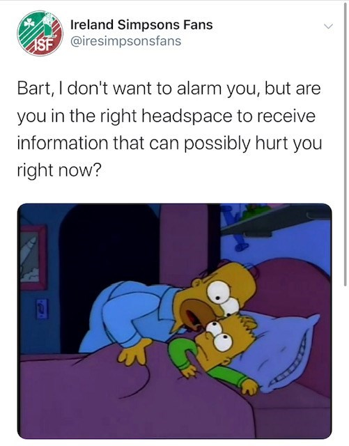 Cartoon - Ireland Simpsons Fans ASF @iresimpsonsfans Bart, I don't want to alarm you, but are you in the right headspace to receive information that can possibly hurt you right now?