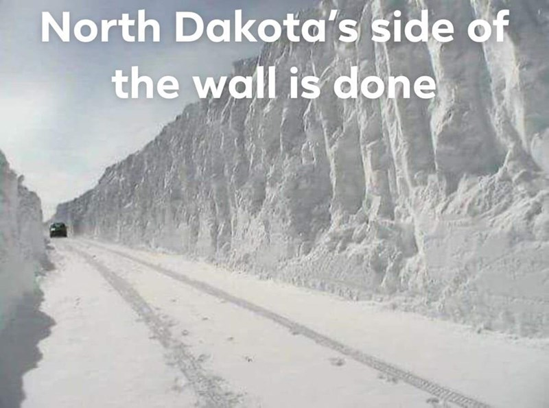 Geological phenomenon - North Dakota's side of the wall is done
