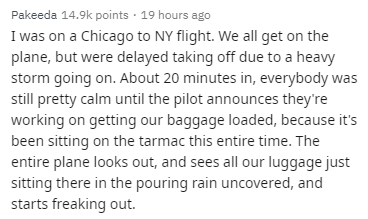 Text - Pakeeda 14.9k points 19 hours ago I was on a Chicago to NY flight. We all get on the plane, but were delayed taking off due to a heavy storm going on. About 20 minutes in, everybody was still pretty calm until the pilot announdces they're working on getting our baggage loaded, because it's been sitting on the tarmac this entire time. The entire plane looks out, and sees all our luggage just sitting there in the pouring rain uncovered, and starts freaking out.