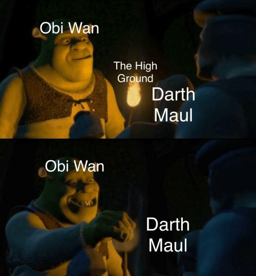 Cartoon - Obi Wan The High Ground Darth Maul Obi Wan Darth Maul