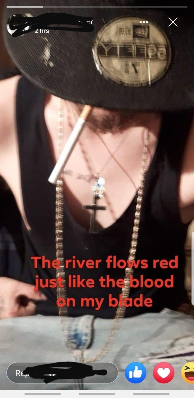 Neck - 2 hrs TEea The river flofys red jus like the blood bade on my Rep ATH