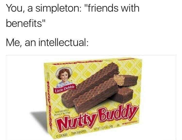 """Food - You, a simpleton: """"friends with benefits"""" 11 Me, an intellectual: Little Debbie WAFERS WITH PEANUT BUTTER Nutty Buddy NET WT 12.0/02 040 TWIN WRARPED 12 COOKIES Strcle"""