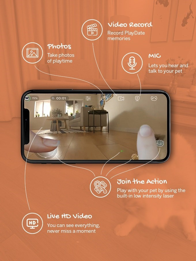 Product - Video Record Record PlayDate memories Photos Take photos of playtime MIG Lets you hear and talk to your pet O 00:01 75% Join the Action Play with your pet by using the built-in low intensity laser Live HD Video HD You can see everything, never miss a moment