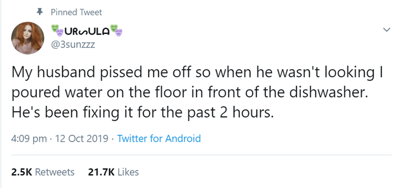 Text - Pinned Tweet URunULA @3sunzzz My husband pissed me off so when he wasn't looking I poured water on the floor in front of the dishwasher. He's been fixing it for the past 2 hours. 4:09 pm 12 Oct 2019 Twitter for Android 21.7K Likes 2.5K Retweets
