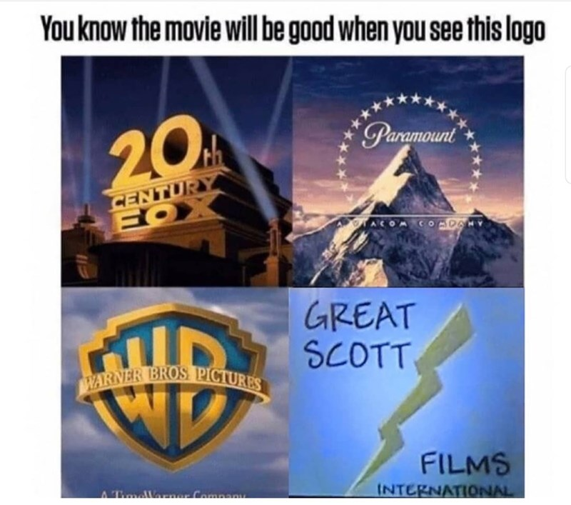 Landmark - You know the movie will be good when you see this logo 20 Paramount CENTURY ACOMCO DA GREAT SCOTT WARNER BROS PICTURES FILMS INTERNATIONAL ATaelVarner Compan