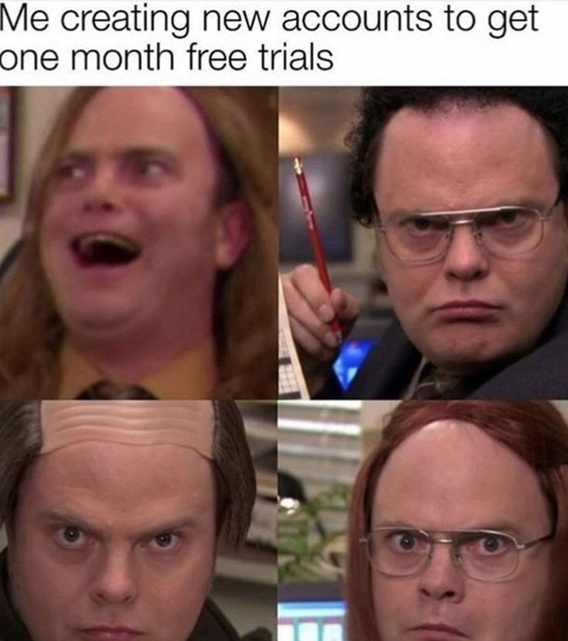 Face - Me creating new accounts to get one month free trials