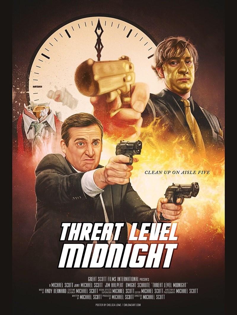 "Movie - 'רייוי CLEAN UP ON AISLE FIVE THRERT LEVEL MIDNIGHT GREAT SCOTT FILMS INTERNATIONAL PRESENTS A MICHAEL SCOTT JUINI MICHAEL SCOTT JIM HALPERT OWIGHT SCHRUTE ""THREAT LEVEL MIDNIGHT"" MUSIC ANDY BERNARD STUME MICHAEL SCOTT VSUEMISOR MICHAEL SCOTT corOR MICHAEL SCOTT PROTOGRAPAY MICHAEL SCOTT WAITTEN MICHAEL SCOTI PRODUCED MICHAEL SCOTT DIRECTEO MICHAEL SCOTT AL EFFECTS SUPERVISOR DIRECTOR OF BY POSTER BY CHELSEA LOWE / CMLOWEART.COM"
