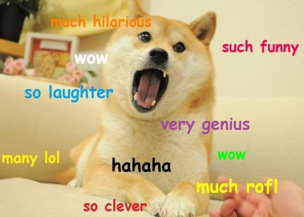 Dog - much hilarious such funny WOW so laughter very genius WOw many lol hahaha much rofl so clever