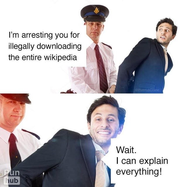 White-collar worker - I'm arresting you for illegally downloading the entire wikipedia PunHubOine Wait. I can explain everything! Pun hub
