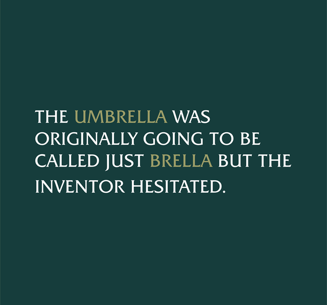Text - THE UMBRELLA WAS ORIGINALLY GOING TO BE CALLED JUST BRELLA BUT THE INVENTOR HESITATED.