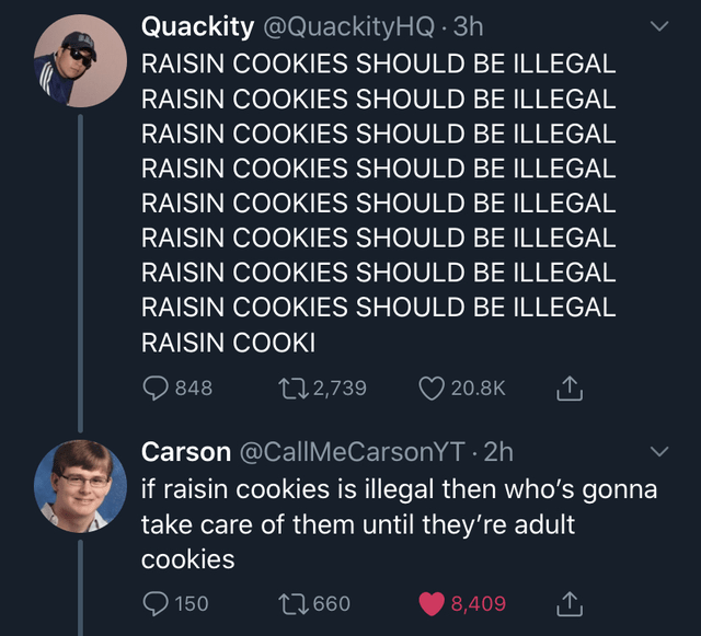 Text - Quackity @QuackityHQ · 3h RAISIN COOKIES SHOULD BE ILLEGAL RAISIN COOKIES SHOULD BE ILLEGAL RAISIN COOKIES SHOULD BE ILLEGAL RAISIN COOKIES SHOULD BE ILLEGAL RAISIN COOKIES SHOULD BE ILLEGAL RAISIN COOKIES SHOULD BE ILLEGAL RAISIN COOKIES SHOULD BE ILLEGAL RAISIN COOKIES SHOULD BE ILLEGAL RAISIN COOKI Q 848 272,739 20.8K Carson @CallMeCarsonYT · 2h if raisin cookies is illegal then who's gonna take care of them until they're adult cookies O 150 27660 8,409