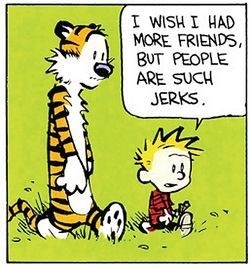 Cartoon - I WISH I HAD MORE FRIENDS, BUT PEOPLE ARE SUCH JERKS,