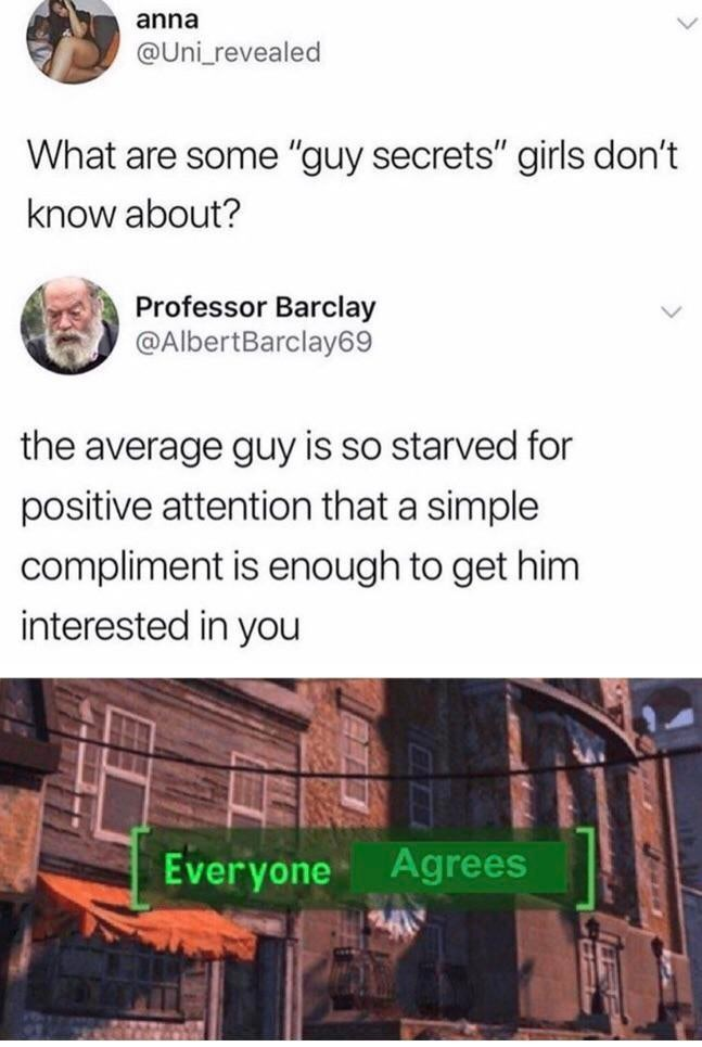 """Text - Text - anna @Uni_revealed What are some """"guy secrets"""" girls don't know about? Professor Barclay @AlbertBarclay69 the average guy is so starved for positive attention that a simple compliment is enough to get him interested in you Everyone Agrees"""