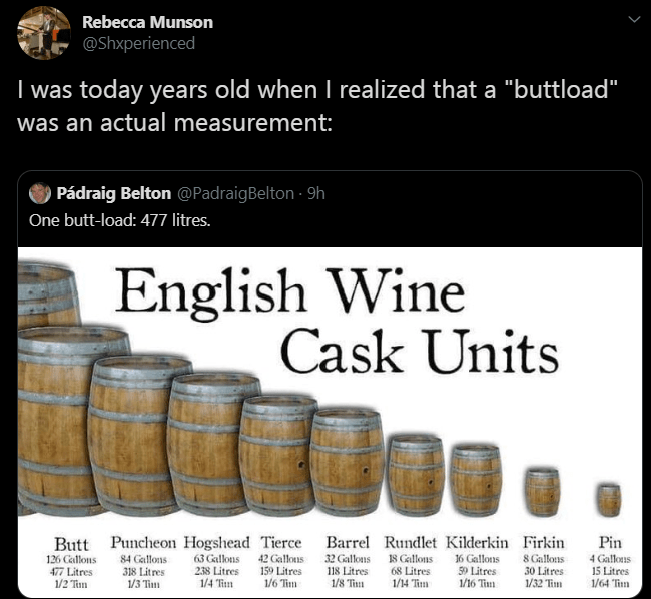 """Text - Font - Rebecca Munson @Shxperienced I was today years old whenI realized that a """"buttload"""" was an actual measurement: Pádraig Belton @PadraigBelton - 9h One butt-load: 477 litres. English Wine Cask Units Butt Puncheon Hogshead Tierce 126 Callons 477 Litres 1/2 Tim Barrel Rundlet Kilderkin Firkin 8 Gallons 30 Litres 1/32 Tim Pin 18 Gallons 68 Litres 1/14 Tim 63 Gallons 238 Litres 1/4 Rm 42 Gallous 159 Litres 1/6 Tim 32 Gallons 118 Litres 1/8 Tim 16 Gallons 59 Litres 1/16 Tin 4 Gallous 15 L"""
