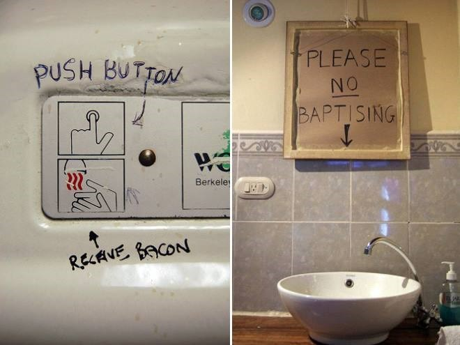 Bathroom - PLEASE PUSH BUTTON NO BAPTISING Berkele RECANE BACON