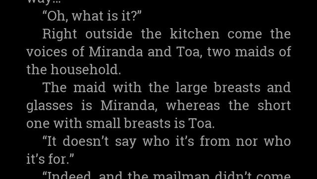 "Text - ""Oh, what is it?"" Right outside the kitchen come the voices of Miranda and Toa, two maids of the household. The maid with the large breasts and glasses is Miranda, whereas the short one with small breasts is Toa. ""It doesn't say who it's from nor who it's for."" ""Indeed and the mailman didn't come"