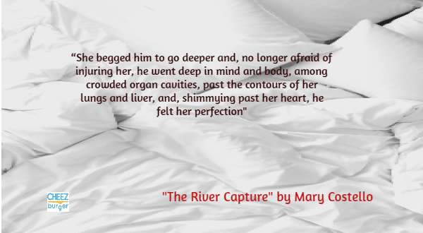 """Text - """"She begged him to go deeper and, no longer afraid of injuring her, he went deep in mind and body, among crowded organ cavities, past the contours of her lungs and liver, and, shimmying past her heart, he felt her perfection"""" """"The River Capture"""" by Mary Costello CHEEZ burger"""