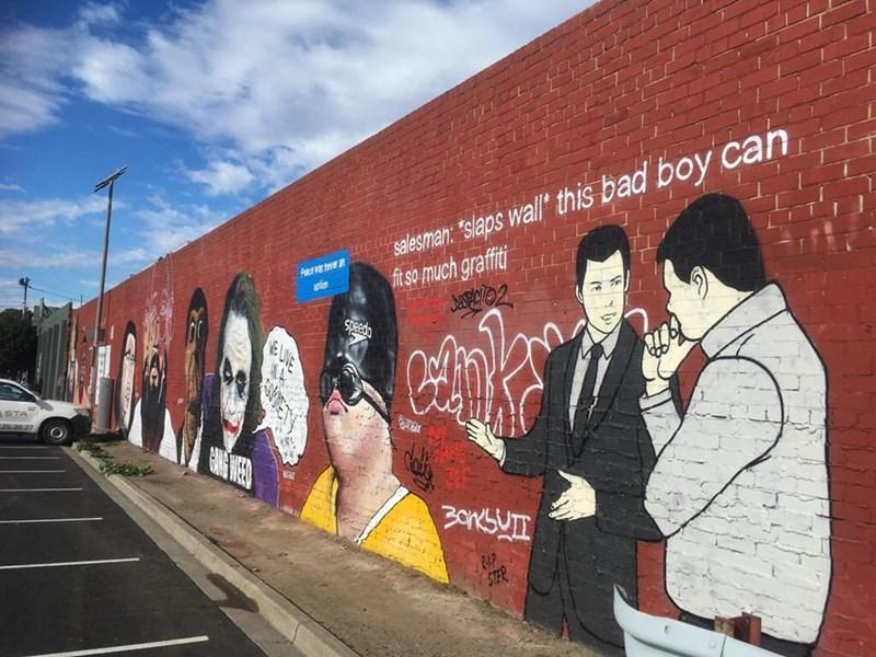 "Mural - salesman: ""slaps wall"" this bad boy can ft so much graffiti aton Speedo E LIVE STA 3OKSUTT R&P"