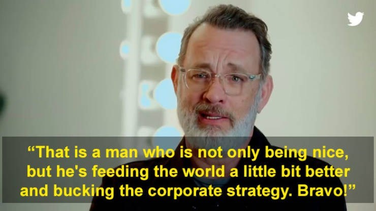 """Skin - """"That is a man who is not only being nice, but he's feeding the world a little bit better and bucking the corporate strategy. Bravo!"""""""