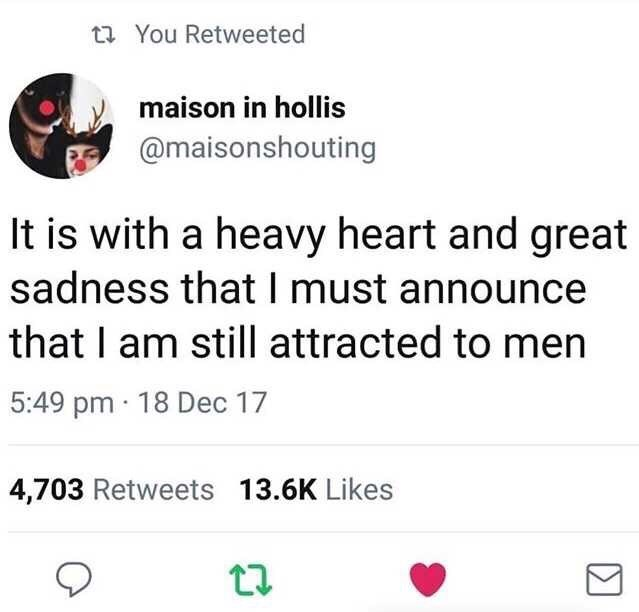 Text - 27 You Retweeted maison in hollis @maisonshouting It is with a heavy heart and great sadness that I must announce that I am still attracted to men 5:49 pm · 18 Dec 17 4,703 Retweets 13.6K Likes