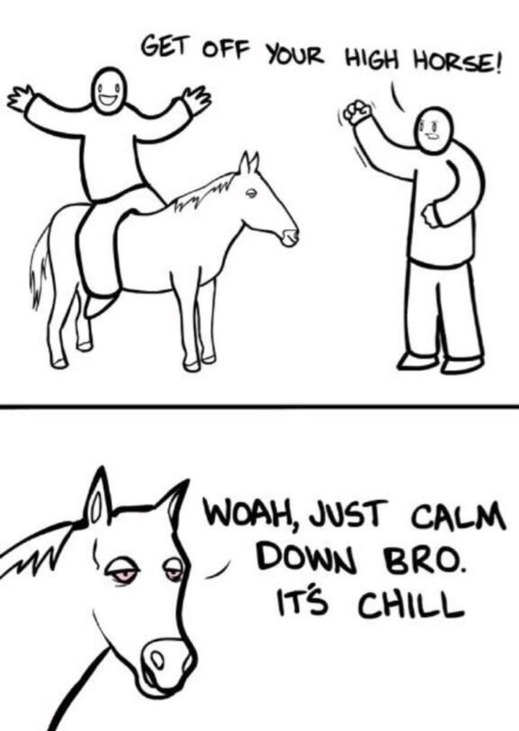 White - GET OFF YOUR HIGH HORSE! WOAH, JUST CALM DOWN BRO. ITS CHILL