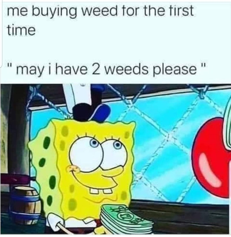 """Cartoon - me buying weed tor the tirst time """"may i have 2 weeds please """""""