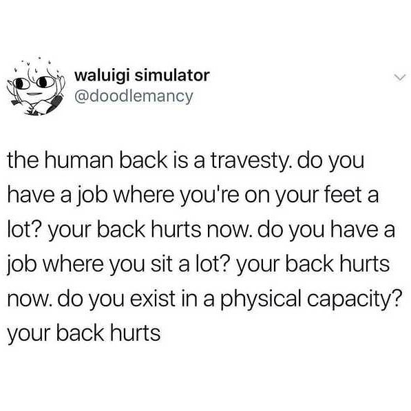 Text - waluigi simulator @doodlemancy the human back is a travesty. do you have a job where you're on your feet a lot? your back hurts now. do you have a job where you sit a lot? your back hurts now. do you exist in a physical capacity? your back hurts