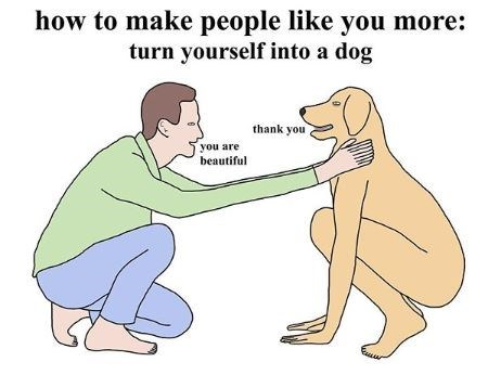 Cartoon - how to make people like you more: turn yourself into a dog thank you you are beautiful