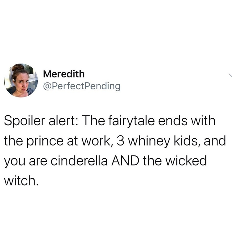 Text - Meredith @PerfectPending Spoiler alert: The fairytale ends with the prince at work, 3 whiney kids, and you are cinderella AND the wicked witch.