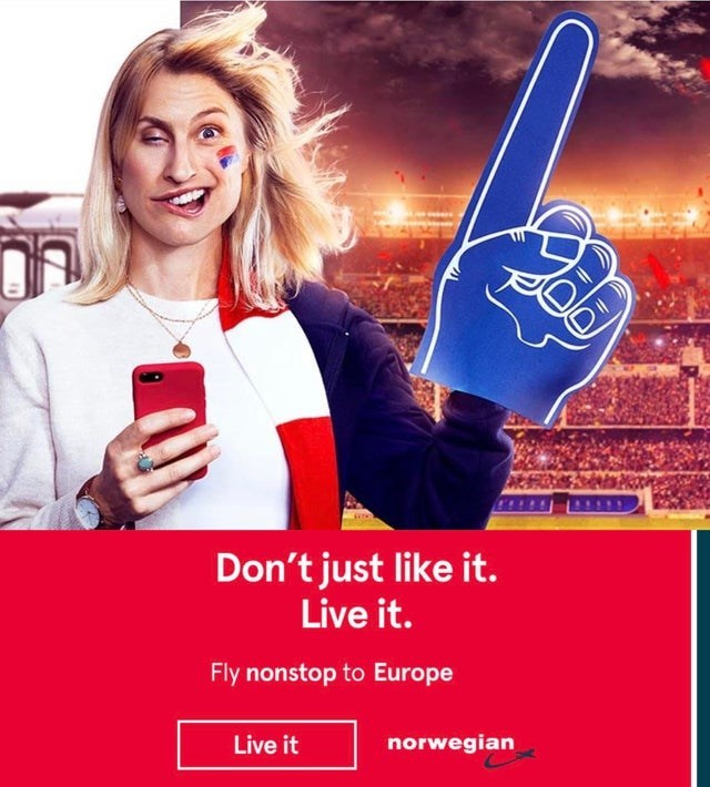 Selfie - Don't just like it. Live it. Fly nonstop to Europe norwegian Live it